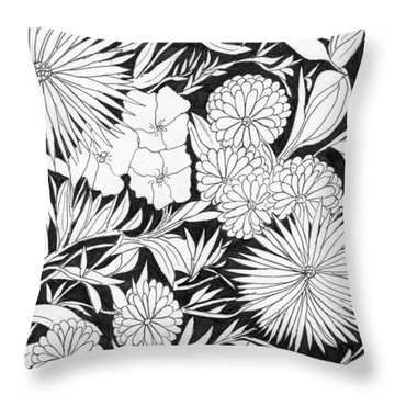 Throw Pillow featuring the painting Flowers 3 by Lou Belcher