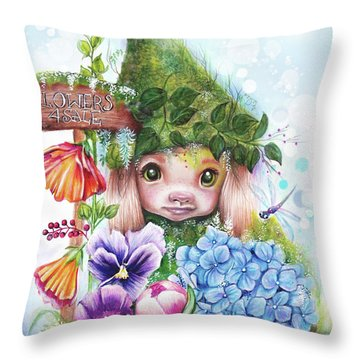 Throw Pillow featuring the mixed media Flowers 4 Sale - Garden Whimzies Collection by Sheena Pike