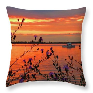 Flowers Along The Shore At Tibbetts Point  Throw Pillow