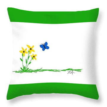 Throw Pillow featuring the painting Flowers And A Butterfly by Joseph Ogle