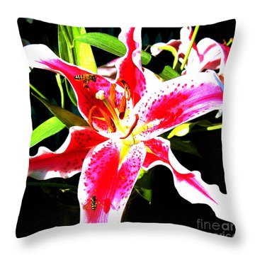 Flowers And Bees Throw Pillow by Jerome Stumphauzer