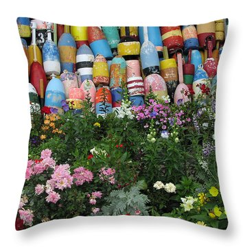Flowers And Bouys Throw Pillow by Mike Martin