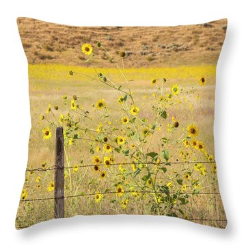 Flowers And Fence Throw Pillow