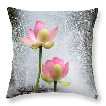 Flowers And Fountains Throw Pillow