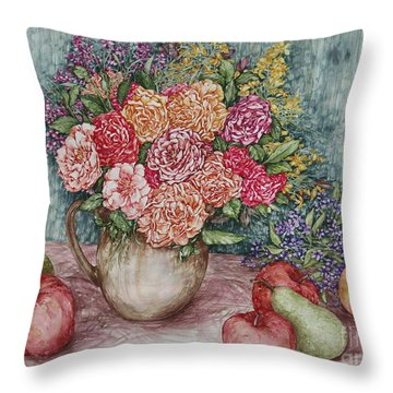 Flowers And Fruit Arrangement Throw Pillow by Kim Tran