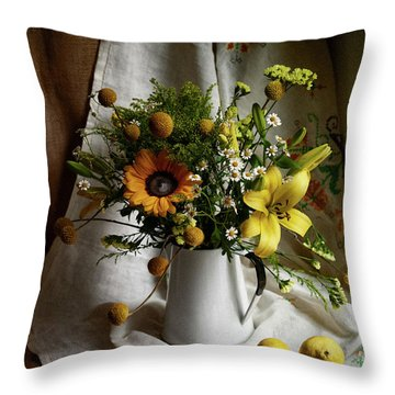 Flowers And Lemons Throw Pillow