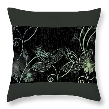 Flowers And Rain Throw Pillow