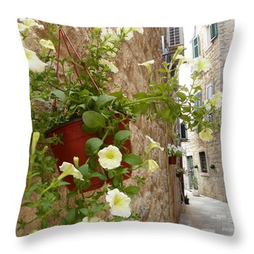 Flowers And Stones Throw Pillow