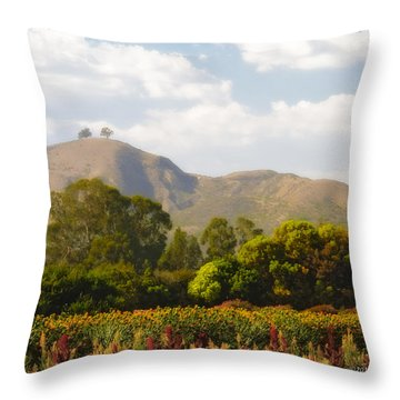Flowers And Two Trees Throw Pillow