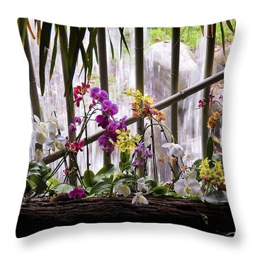 Flowers And Waterfall Throw Pillow