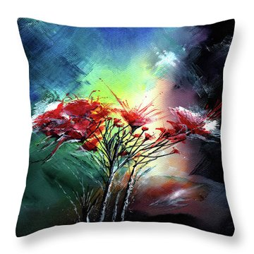 Flowers Throw Pillow by Anil Nene