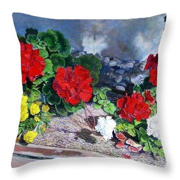 Flowers At Church Throw Pillow by Scott Robertson