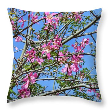 Throw Pillow featuring the photograph Flowers At Epcot by Kay Gilley
