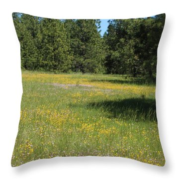 Flowers At Fish Hatchery Throw Pillow
