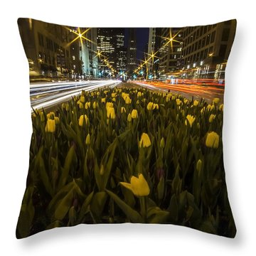 Flowers At Night On Chicago's Mag Mile Throw Pillow
