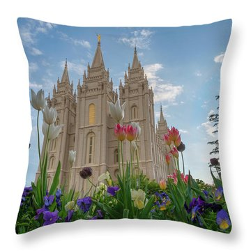 Throw Pillow featuring the photograph Flowers At Temple Square by Dustin  LeFevre