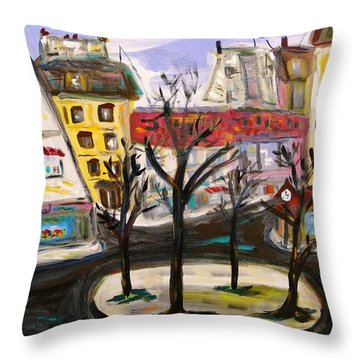 Throw Pillow featuring the painting Flowers At The Corner by Mary Carol Williams
