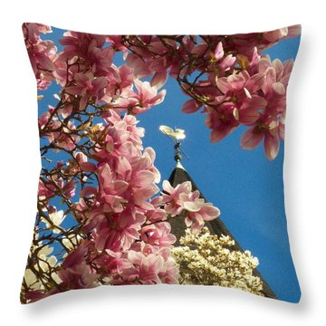 Flowers At The Steeple Throw Pillow
