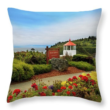 Throw Pillow featuring the photograph Flowers At The Trinidad Lighthouse by James Eddy
