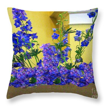 Flowers At The Wall Throw Pillow