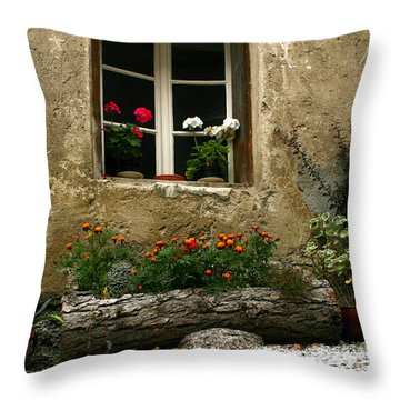 Flowers At Window Throw Pillow by Emanuel Tanjala