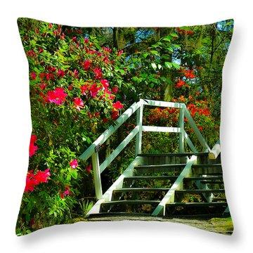 Flowers Bloom Alongside Magnolia Plantation Bridge - Charleston Sc Throw Pillow