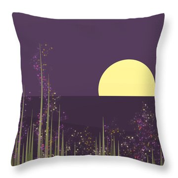 Flowers Blooming At Night Throw Pillow