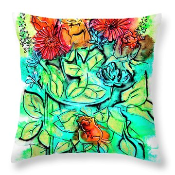 Flowers Bouquet, Illustration Throw Pillow