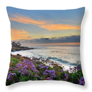 Flowers By The Ocean Throw Pillow