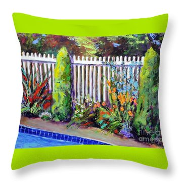 Flowers By The Pool Throw Pillow