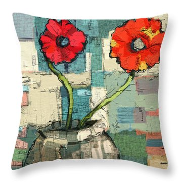 Throw Pillow featuring the painting Flowers by Carrie Joy Byrnes