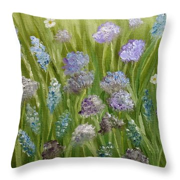 Throw Pillow featuring the painting Flowers Field by Angeles M Pomata