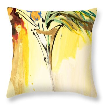 Flowers Flowing In Yellow Throw Pillow