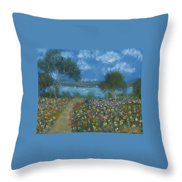 Throw Pillow featuring the painting Flowers For Elmo A Silent Eulogy by Debbie