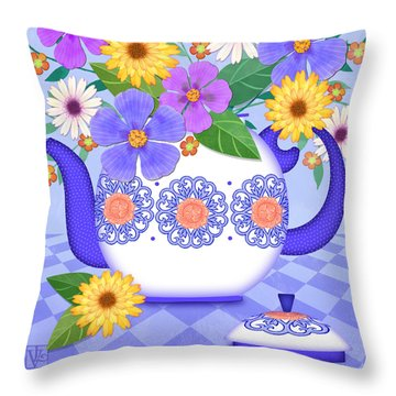 Flowers From My Garden Throw Pillow