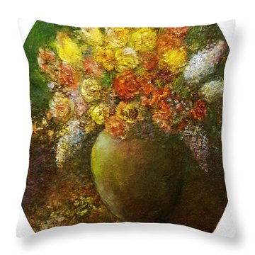 Flowers I A Green Vase Throw Pillow