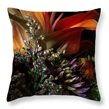 Throw Pillow featuring the digital art Flowers 2 by Stuart Turnbull