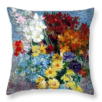 Throw Pillow featuring the painting Flowers In A Blue Vase  by Van Gogh