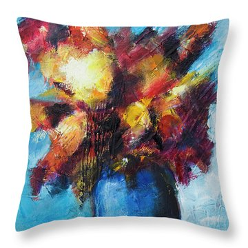 Throw Pillow featuring the painting Flowers In A Blue Vase. by Yulia Kazansky