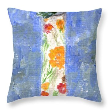 Throw Pillow featuring the painting Flowers In A Bottle by Jamie Frier