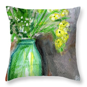 Flowers In A Green Jar- Art By Linda Woods Throw Pillow