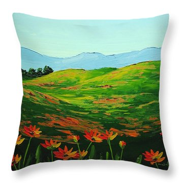 Flowers In A Meadow Throw Pillow by Nolan Clark