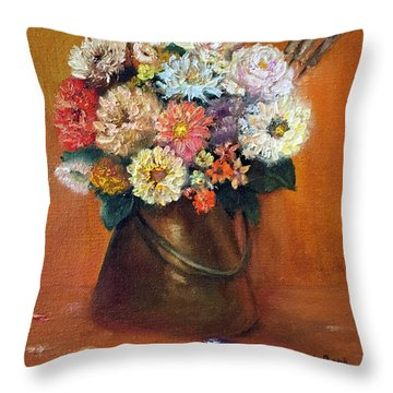 Throw Pillow featuring the painting Flowers In A Metal Vase  by Marlene Book