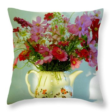 Flowers In A Teapot Throw Pillow