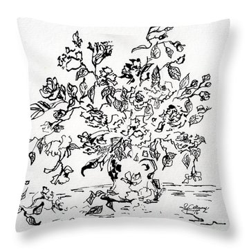 Flowers In A Vase Ink Art Throw Pillow