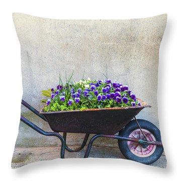 Flowers In A Wheelbarrow Throw Pillow