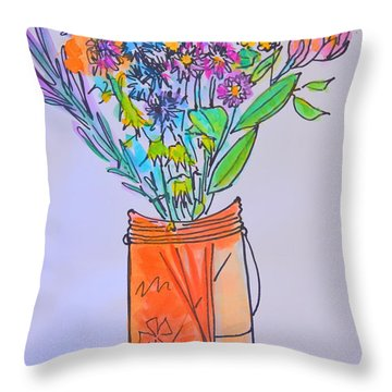 Flowers In An Orange Mason Jar Throw Pillow