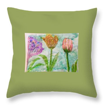 Tulips A'bloom Throw Pillow