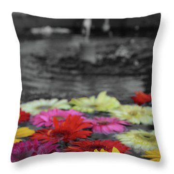 Flowers In Fountain Throw Pillow