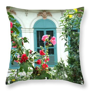 Flowers In Front Of The Window Throw Pillow